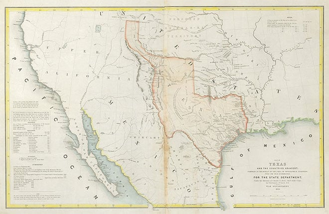 Mapa de la anexión de Texas a Estados Unidos