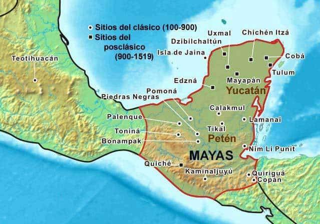 mapa cultura maya