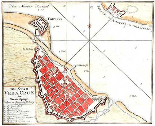 Plano de Veracruz en el Siglo XVIII