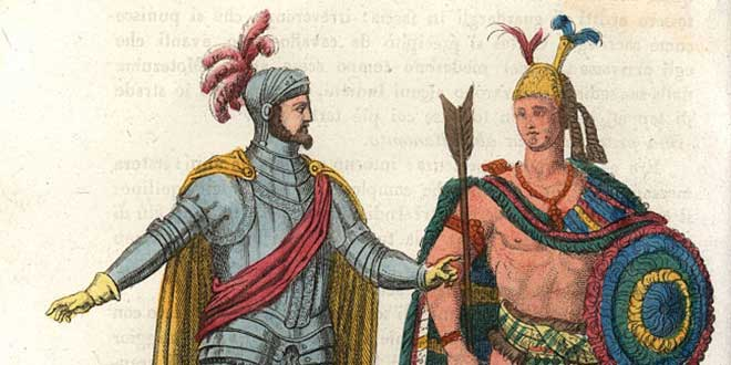 Hernán Cortes y Moctezuma II