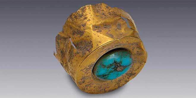 Tapones de orejeras de oro con turquesa Azteca